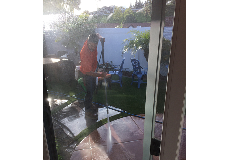 Concrete patio power washing in Yorba Linda